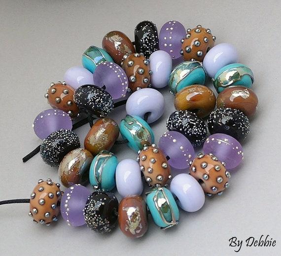 Lampwork Beads Patterned Beads Glass Beads Handmade Beads Organic Beads For Jewelry Supplies Beaded Bracelet Artisan Beads Debbie Sanders