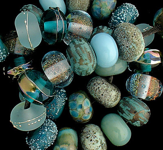 Aqua Lampwork Beads For Jewelry Making Beading Supplies Mermaid Jewelry Bohemian Beads Craft Supplies Summer Jewelry Debbie Sanders