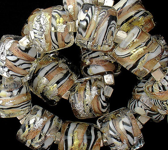 African Lampwork Beads For Safari Jewelry Patterned Beads Jewelry Supplies Nugget Glass Beads For Jewelry Making Black And White Beads