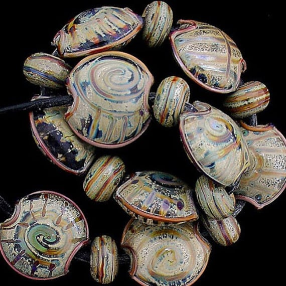 Glass Beads Lampwork Beads Handmade Beads For Jewelry Supplies Beads For Necklaces Rustic Beads Organic Beads Tribal Beads Debbie Sanders