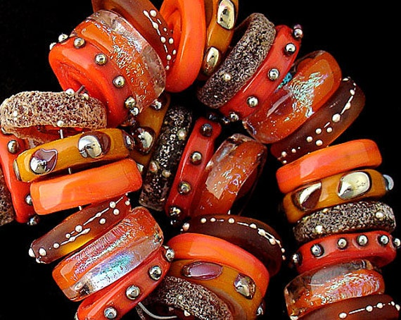 Glass Beads Lampwork Beads Organic Beads Summer Jewelry Statement Necklace Bead Bracelet Handmade Jewelry Supplies Debbie Sanders