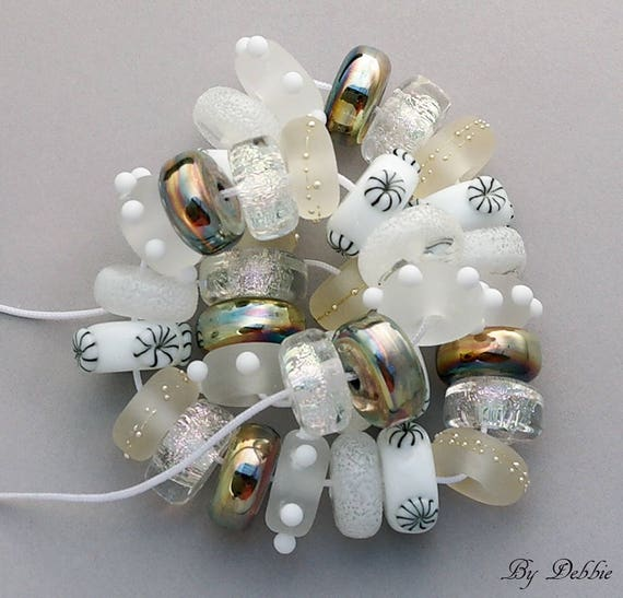 Handmade Lampwork Beads Lampwork Handmade Glass Beads For Jewelry Statement Necklace Bead Bracelet Jewelry Set White Beads Debbie Sanders