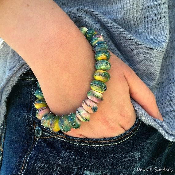 Colorful Bead Bracelet Stretch Cord Bracelet Stackable Bracelet Round Bead Bracelet Gift For Her Beaded Jewelry Bracelet Lampwork Beads
