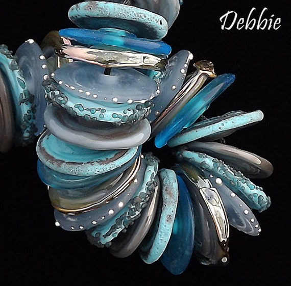 Bohemian Lampwork Beads For Jewelry Making Beach Glass Beads For Necklace Beaded Disc Bracelet Blue Beads Jewelry Supplies Debbie Sanders