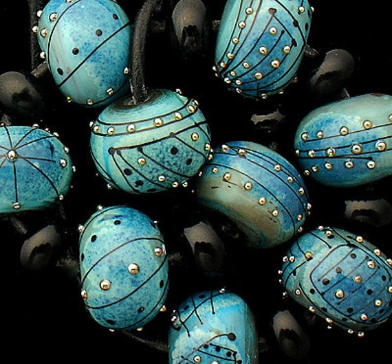 Blue Lampwork Beads For Jewelry Supplies For Bracelets Handmade Glass Beads For Craft Supplies Round Beads For Necklace Debbie Sanders