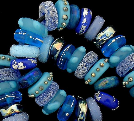 Lampwork Beads Glass Beads Statement Necklace Jewelry Supplies Beads Beaded Bracelet Bead Bracelet Organic Beads Blue Beads Debbie Sanders