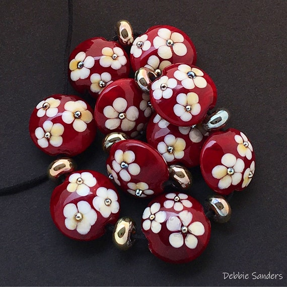 Flower Lampwork Beads For Statement Necklace Red Glass Beads For Jewelry Supplies Flower Lentil Beads For Jewelry Design Debbie Sanders