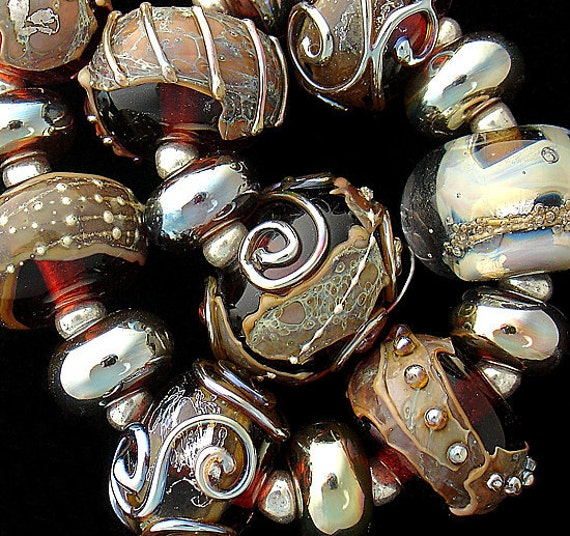 Brown Lampwork Beads For Jewelry Supplies Glass Beads Statement Necklace Boho Bracelet Beads Round Beads Jewelry Making Debbie Sanders