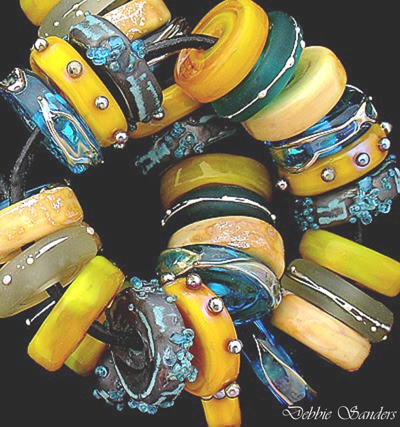 Yellow Disc Lampwork Beads For Jewelry Sets Glass Beads Beach Jewelry Craft Supplies Boho Bracelet Aqua Beads Jewelry Debbie Sanders