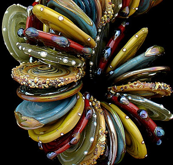 Lampwork Beads Glass Beads Statement Necklace Beads For Jewelry Supplies Beading Bracelet Jewelry Making Bead Discs Necklace Debbie Sanders