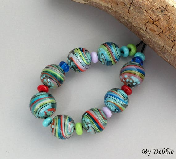 Lampwork Beads Handmade Lampwork Glass Beads For Jewelry Patterned Beads Jewelry Set Unusual Beads For Jewelry Supplies Debbie Sanders