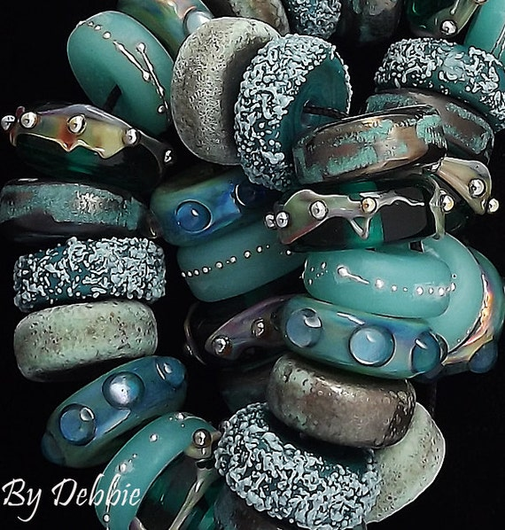 Teal Lampwork Beads For Jewelry Supplies Disc Beads For Statement Necklace Beaded Bracelet Handmade Glass Beads Craft Supply Debbie Sanders