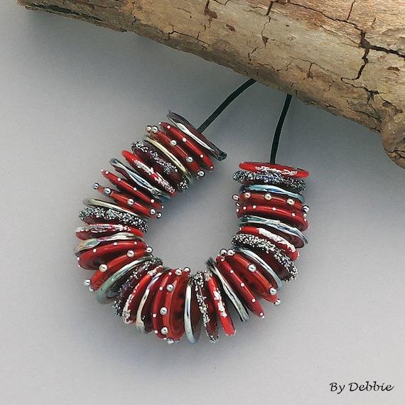 Lampwork Beads Handmade Lampwork Glass Beads Jewelry Sets Artisan Beads For Jewelry Supplies Beaded Bracelet Red Beads Discs Debbie Sanders
