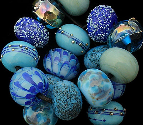 Lampwork Beads Handmade Lampwork Glass Beads For Jewelry Supplies For Necklace Beads Jewelry Set Blue Beads Organic Beads Debbie Sanders