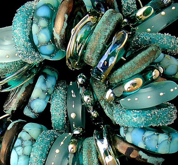 Handmade Beads Lampwork Beads Rustic Lampwork Glass Beads Beach Jewelry Teal Beads For Jewelry Supplies Bracelet Debbie Sanders