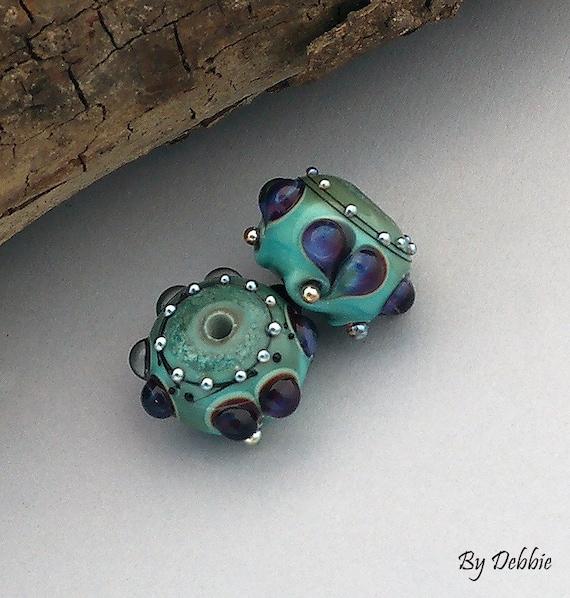 Lampwork Beads Glass Beads Lampwork Earrings Heart Beads Earrings Jewelry Supplies Bead Beading Supplies Beads Round Beads Debbie Sanders