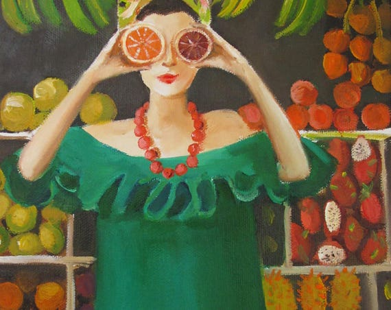 Twelve Days At The Penny Fontaine Hotel. Day Ten: Play With the Citrus at Sam's Fruit Stand. Art Print.