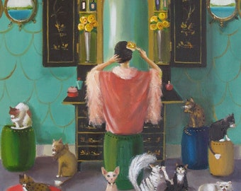 Miss Mink The Cat Countess. Lesson One: Start The Day Off Right....Art Print