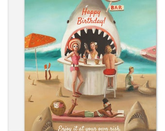 Sand Shark Bar. Birthday Card. SKU JH1177