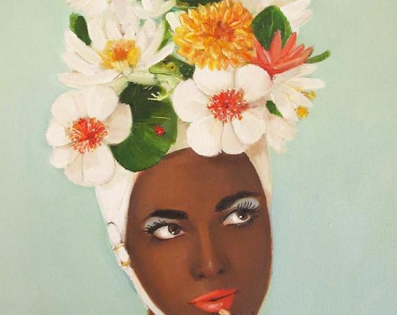 Julie Blue's Marvelous New Swim Cap.  Art Print