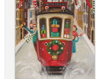The Peppermint Family Christmas Trolley. Boxed Set of 8 Cards.