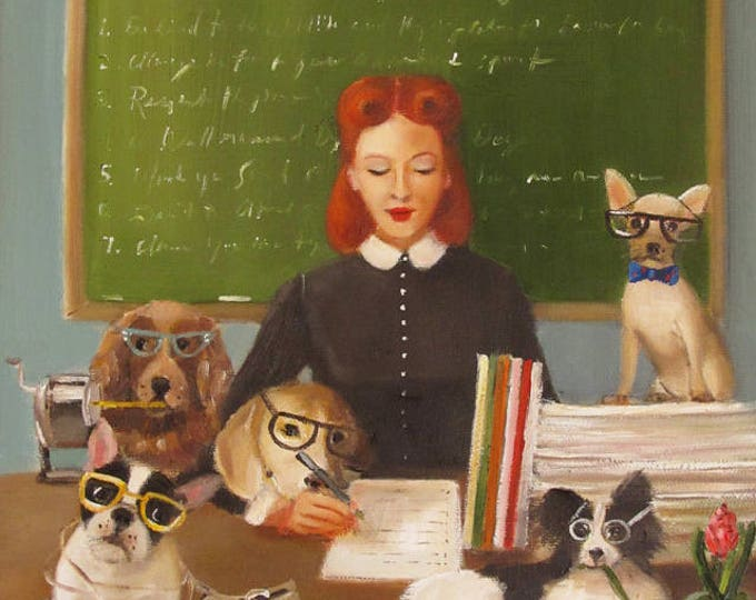 Miss Moon Was A Dog Governess.  Lesson Seven:  Whenever You Can.... Art Print.