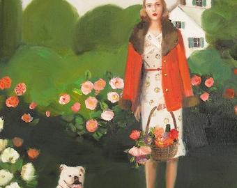 Beatrice In The Garden On Her Sixth Birthday. Art Print