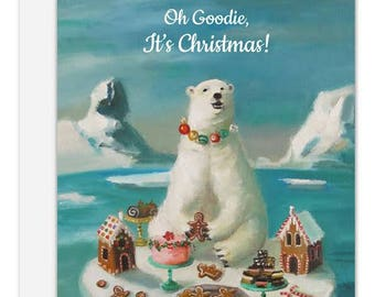 Goodie Bear. Christmas Card. SKU JH1149