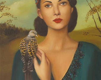 Elspeth With Her Turtledove. Art Print.