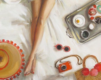 Twelve Days at the Penny Fontaine Hotel. Day Nine: On the one rainy morning of the trip, enjoy breakfast in bed. Art Print.