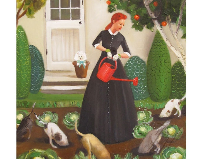 Miss Moon Was A Dog Governess.  Lesson Eighteen:  Nurture The Environment.....Art Print