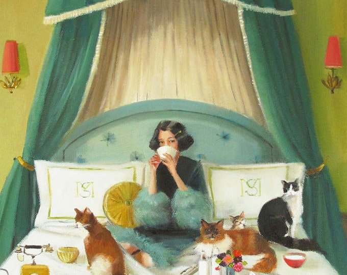 Mademoiselle Mink Breakfasts In Bed.  Art Print