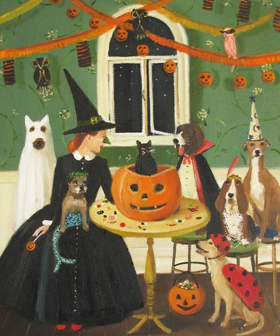 Miss Moon Was A Dog Governess.  Lesson Ten:  Sometimes Tricks Are Better Than Treats. Art Print.