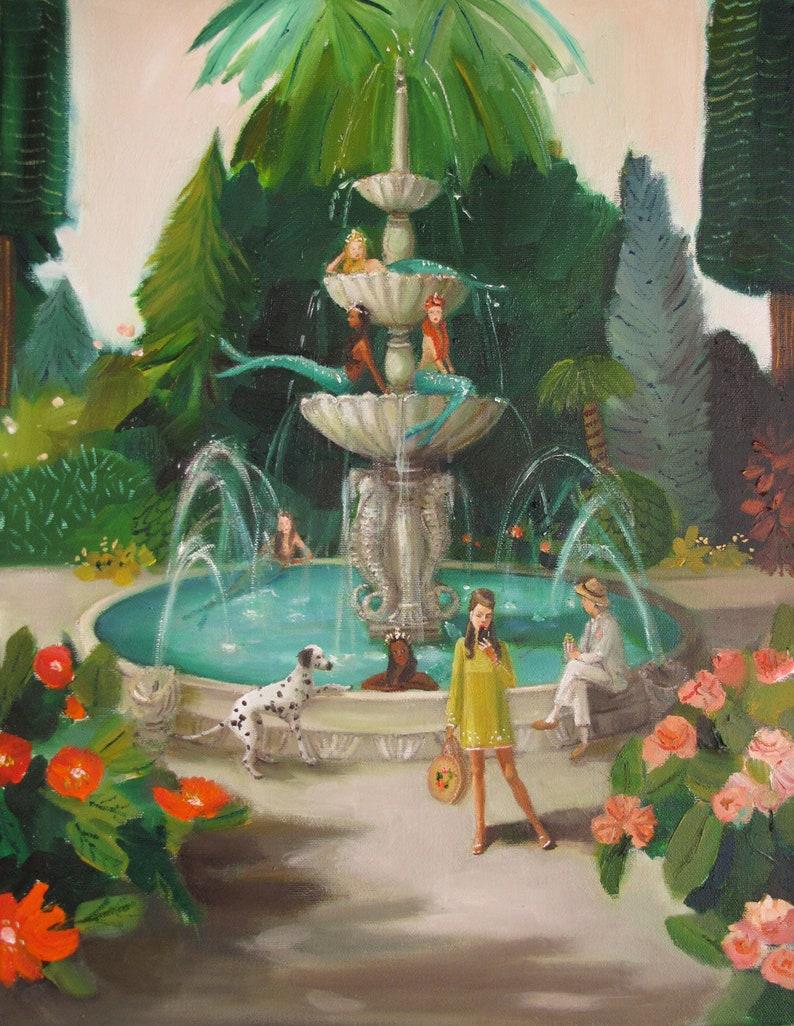 Selfie at the Mermaid Public Fountain. Art Print. image 0