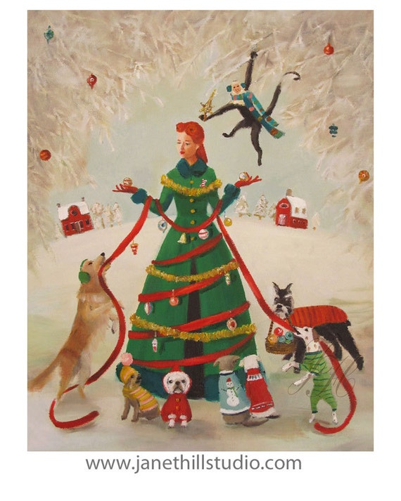 A Miss Moon Christmas.  Lesson One:  Do Not Mistake People Wearing Green Coats For Christmas Trees. Art Print