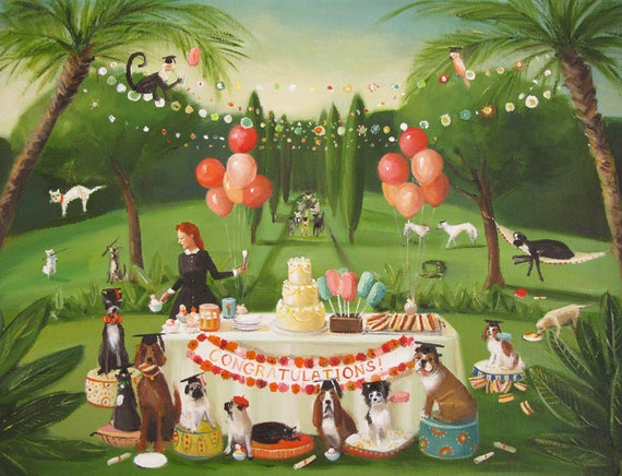 Miss Moon Was A Dog Governess.  Lesson Twenty:  Celebrate Your Accomplishments With Family And Good Friends.  Art Print.