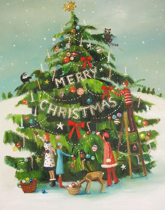 The Peppermint Family Trim The Tree. Art Print.