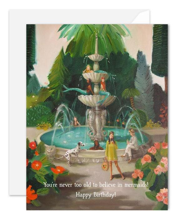 Selfie At The Mermaid Public Fountain. Birthday Card. SKU JH1161
