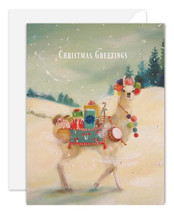 The Christmas Llama. BOX SET of 8 Cards. One Design.