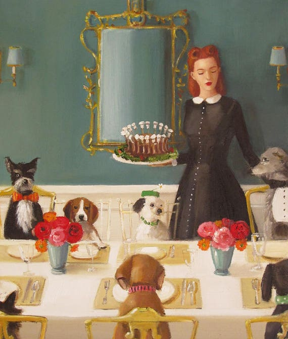 Miss Moon Was A Dog Governess.  Lesson Four:  A Well- Mannered Dog Is A Well- Bred Dog.  Art Print