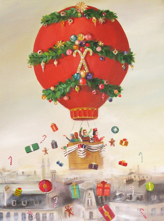 The Peppermint Family Christmas Balloon Ride. Art Print