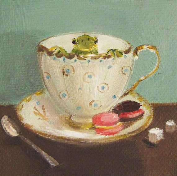 Frog Face. Art Print From Miniature Oil Painting