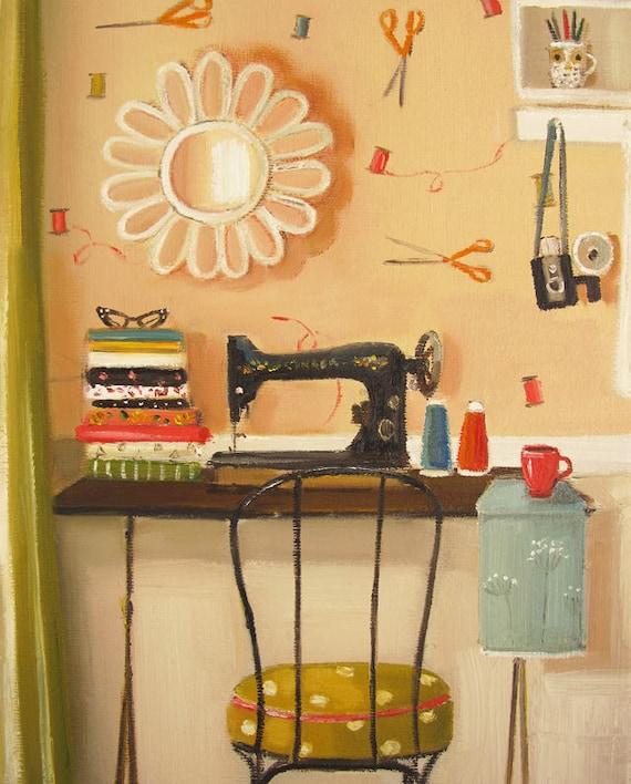 Hipster Crafter.  Art Print.