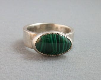 Hand forged Rustic sterling silver ring with natural malachite cabochon Size 10 US - sterling silver jewelry- rustic ring- mens ring