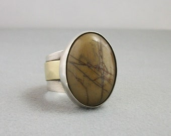 Hand forged Rustic sterling silver and brass ring with Picasso jasper Size 12.5 US - sterling silver jewelry- rustic ring- mens ring