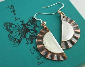 Copper and sterling silver earrings, copper jewelry - copper earrings - handcrafted mixed metal jewelry - dangle earrings