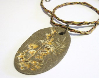 Kumihimo Braided Cord Necklace with Stoneware Pendant