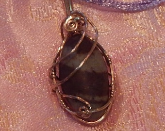 Shiva Lingam Rose Gold Filled Wire Wrapped pendant