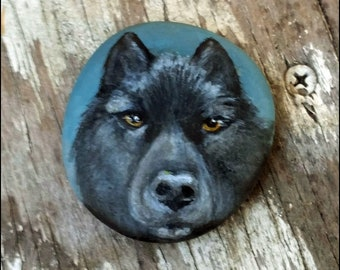 Where art thou Romeo - Hand painted rock - Black Wolf