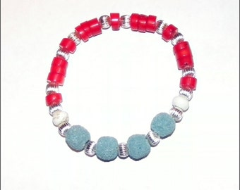 Oil Diffuser Lava Rock and Coral Bracelet